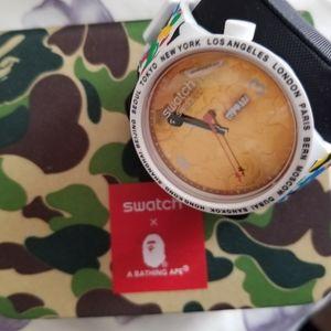 Swatch Bathing Ape Maxi watch Rose Gold
